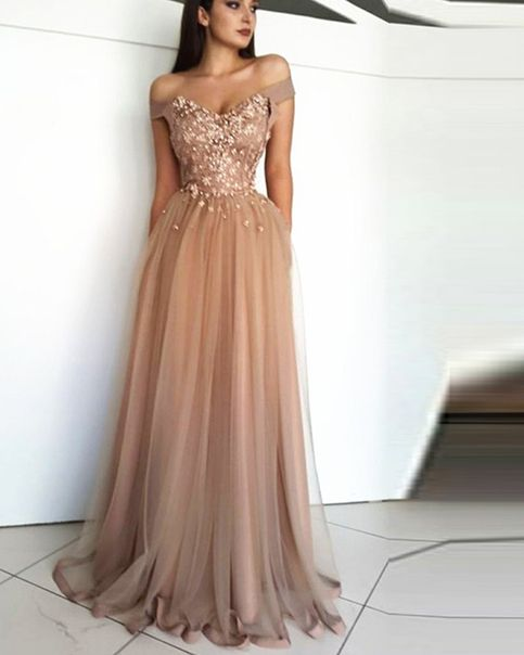 Fancy light brown off the shoulder tulle long prom dress - Nude prom dresses, Evening dresses long, Fancy dresses, Pagent dresses, Champagne evening dress, Evening dresses - when you order please tell me your phone number so when dress arrive we can contact you to bring the dress and make sure you can get dress in time  (this is very important )  The sizes for it  If your size is not standard please send the detail size of your own whne place order   If you choose the custom size, we need the following size (You can add your sizes in Custom message to seller for this item ) 1  Bust              inches  2 Waist                  inches  3 Hips                    inches  4  Your height with no shoes             inches  5 (1)Your height without shoes on            inches  5(2),Your height with shoes             inches  6,The height of shoes         inches 7 Occasion Date         8 Dress color                (you can choose from my color chart)  Customers need to know  All of the dresses don't come  on the shelf (Our Dresses are all custommade) We strongly recommend you to select  Custom Made  to ensure the dress will fit you when it arrives    By the way, you can order them in any size and color, and you can get your dress within 2032 days ~~~~~~~~~~~~~~~~~~~~~~~~~~~~~~~~~~~~~~~~~~~~~~~~~~~~~~~~~~~~~~~~~~~~~~~~~ The Fast & Safe Delivery  Fast international Shipping is a great progress for us in nowadays! We work with the world famous like DHL,UPS,FEDEX,TNT etc  HOW TO ORDER IT  Step1 click on  Add to cart  Step 2 choose check out Step 3 fill out your personal information, like shipping address and contact details  Step 4 Select payment method and add notes of your size and color choice  PAYMENT  We accept payment via PayPal   Shipping time  rush order within 15 days to arrive you (but we need charge you more extra $30 for rush    usually need more than 25 days to arrive you   Tailoring Time 1522 Days  Shipping Time 510 Days