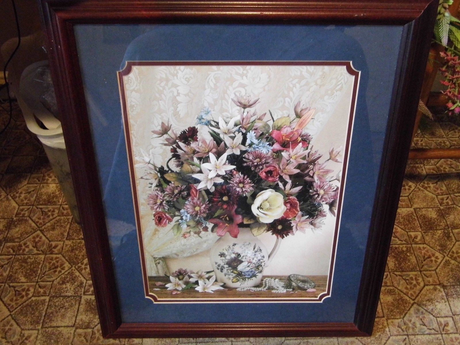 Beautiful Home Interiors Vase of Flowers Picture Wood Frame
