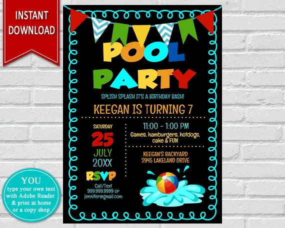 Pool party pool party invite birthday invitation pool invitation pool party pool party invite birthday invitation pool invitation summer party stopboris Choice Image