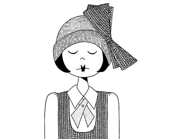 flapper girl drawing in 1920s fashion black and white