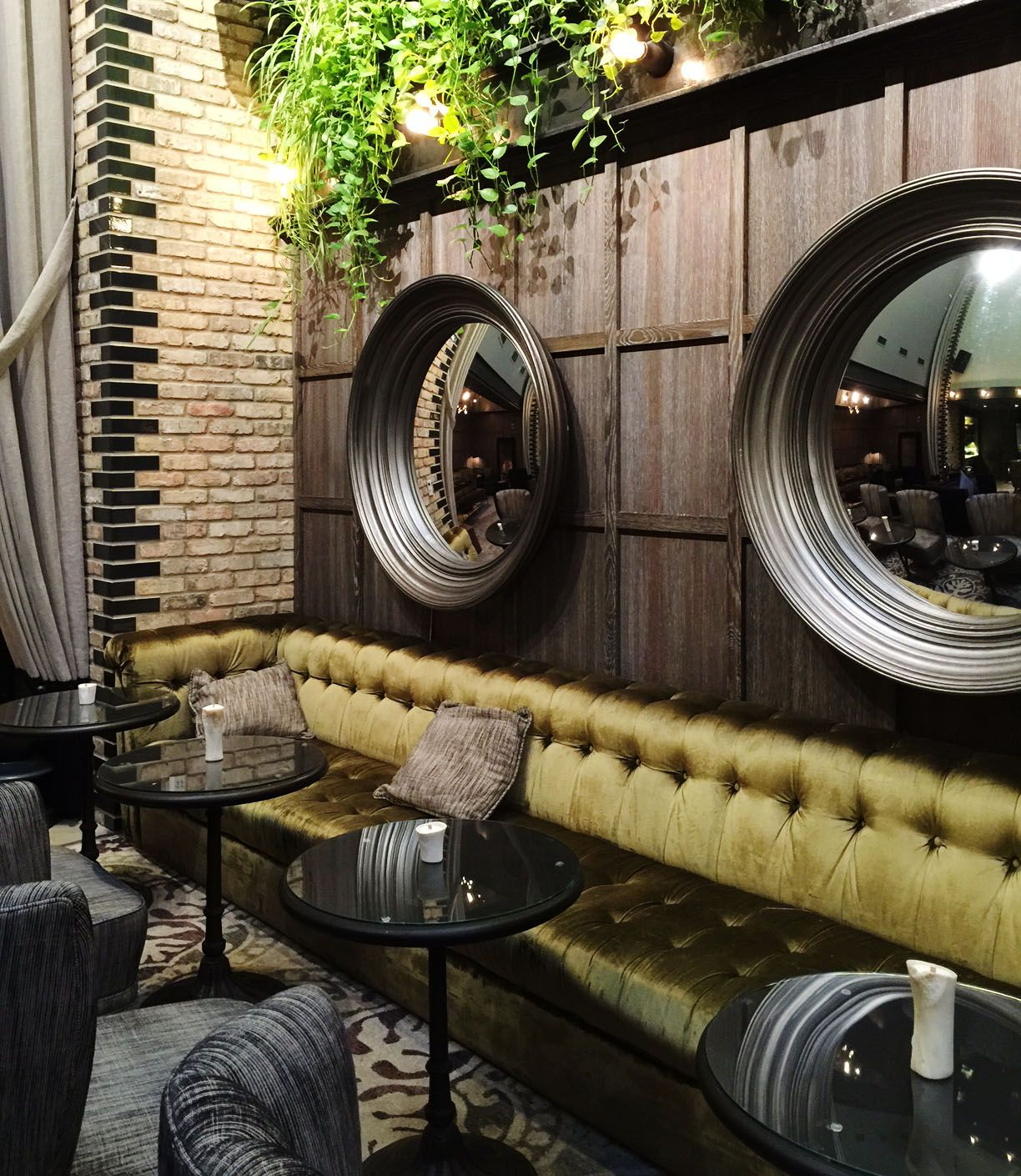 Charlie Bax soy wax bone candles with wooden wicks adorn the lounge area at The Thompson Hotel in Chicago.