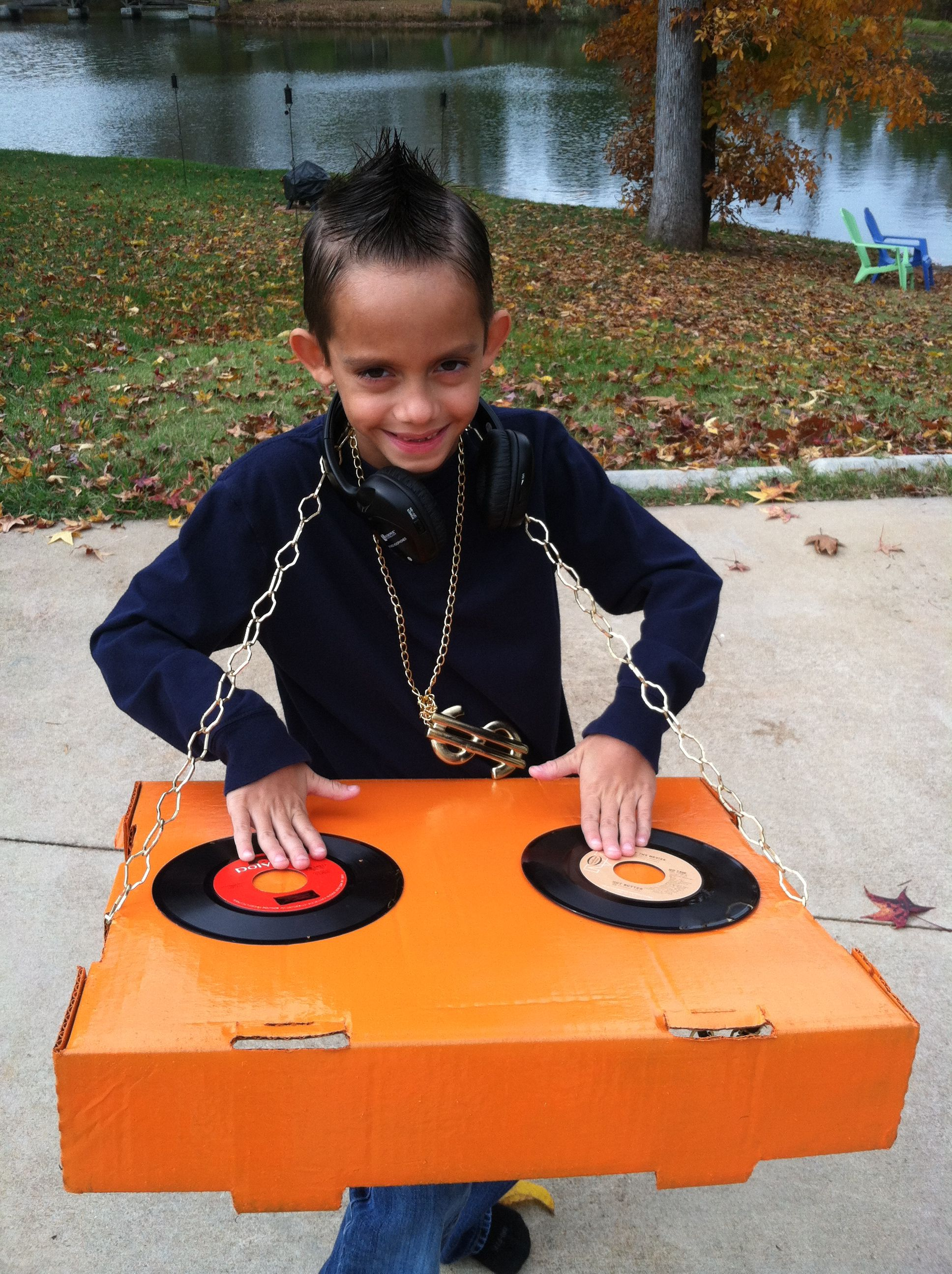 DIY DJ Halloween Costume! Spray paint a box & hot glue some vinyl ...