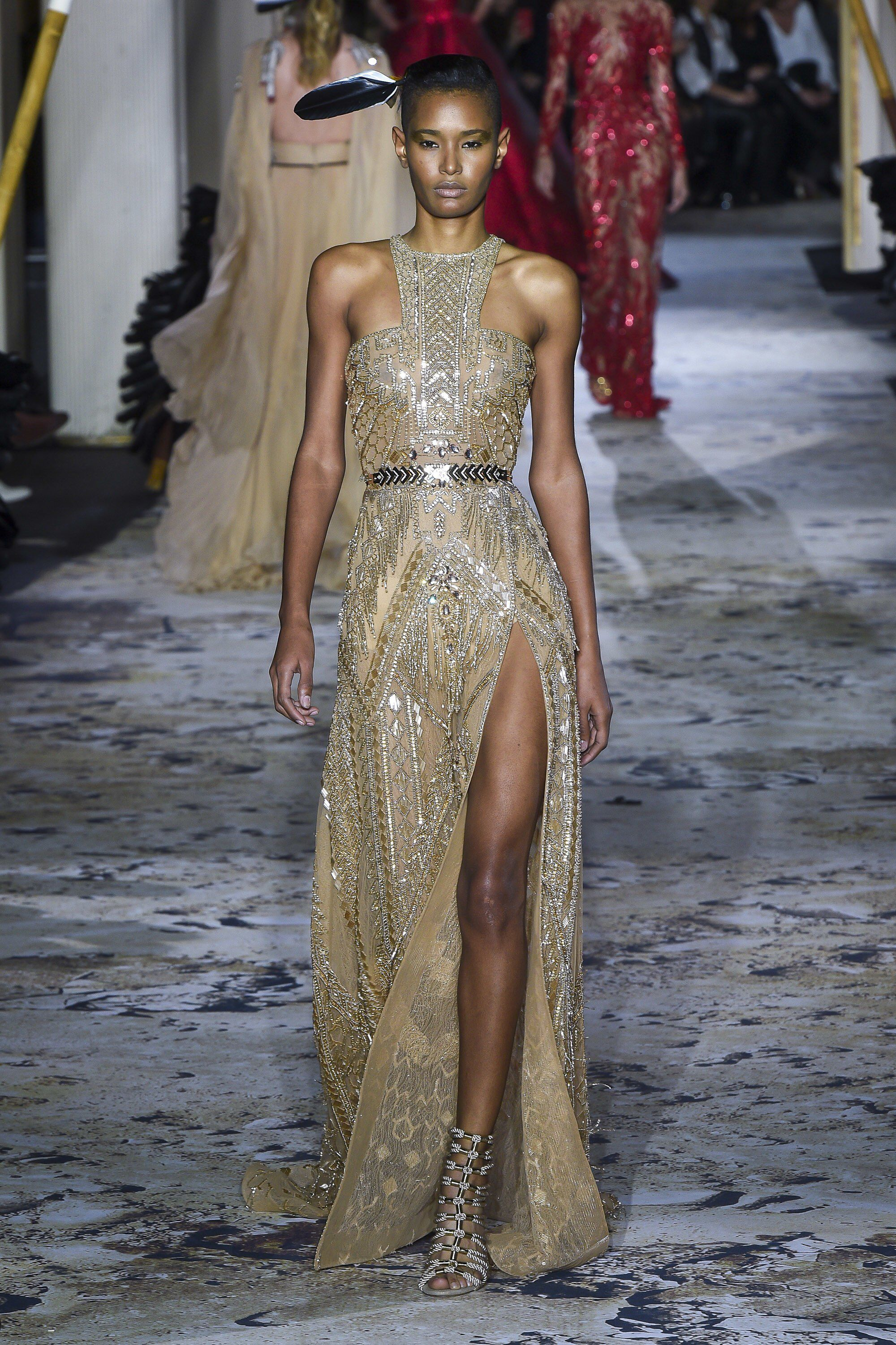 Zuhair Murad Spring 2018 Couture: Glam gold dress with ...