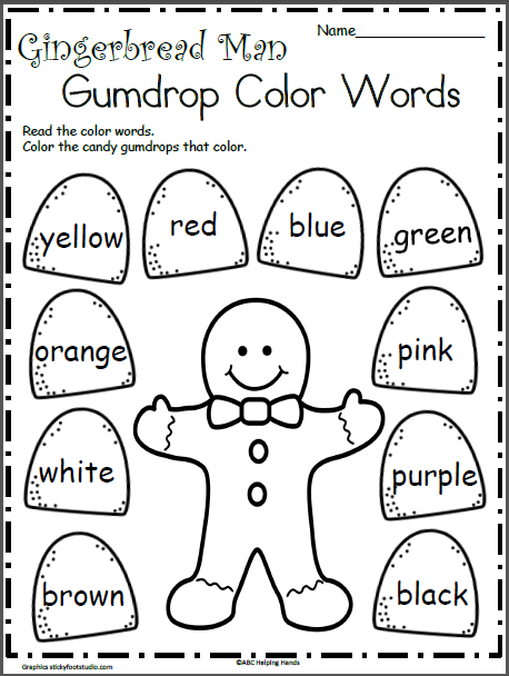 Gingerbread Man Color Words | Kids | Christmas worksheets ...
