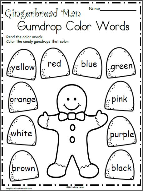 gingerbread man color words kids preschool christmas gingerbread man activities christmas. Black Bedroom Furniture Sets. Home Design Ideas