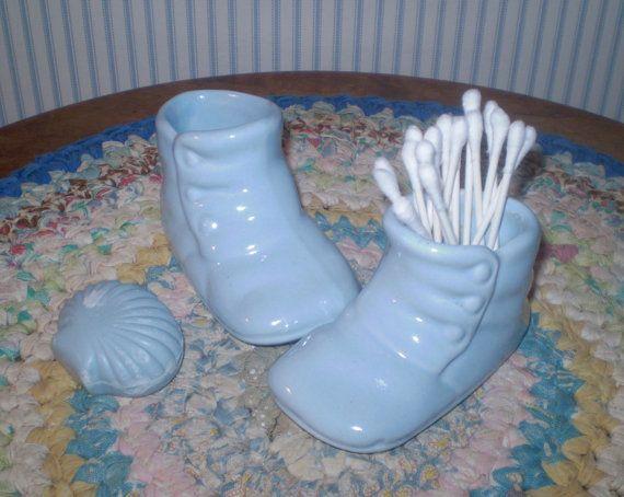 Vintage Haeger Baby Shoe Planters Pair Of Pale Blue Ceramic Etsy Cotton Ball Holder Blue Ceramics Baby Shoes