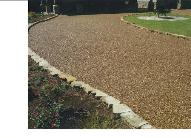 Pebble Stone Driveway Stone Driveway Driveway Landscaping Modern Front Yard