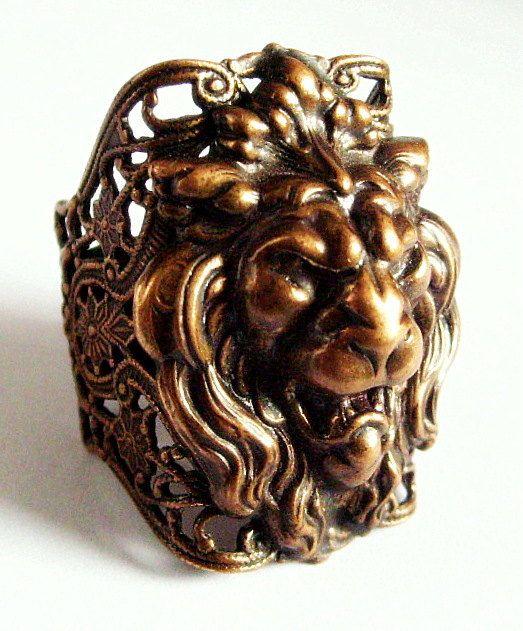 5ac5db4e8bcae Kim Craftsmen Lion Head Ring. $85.00, via Etsy. | lion head