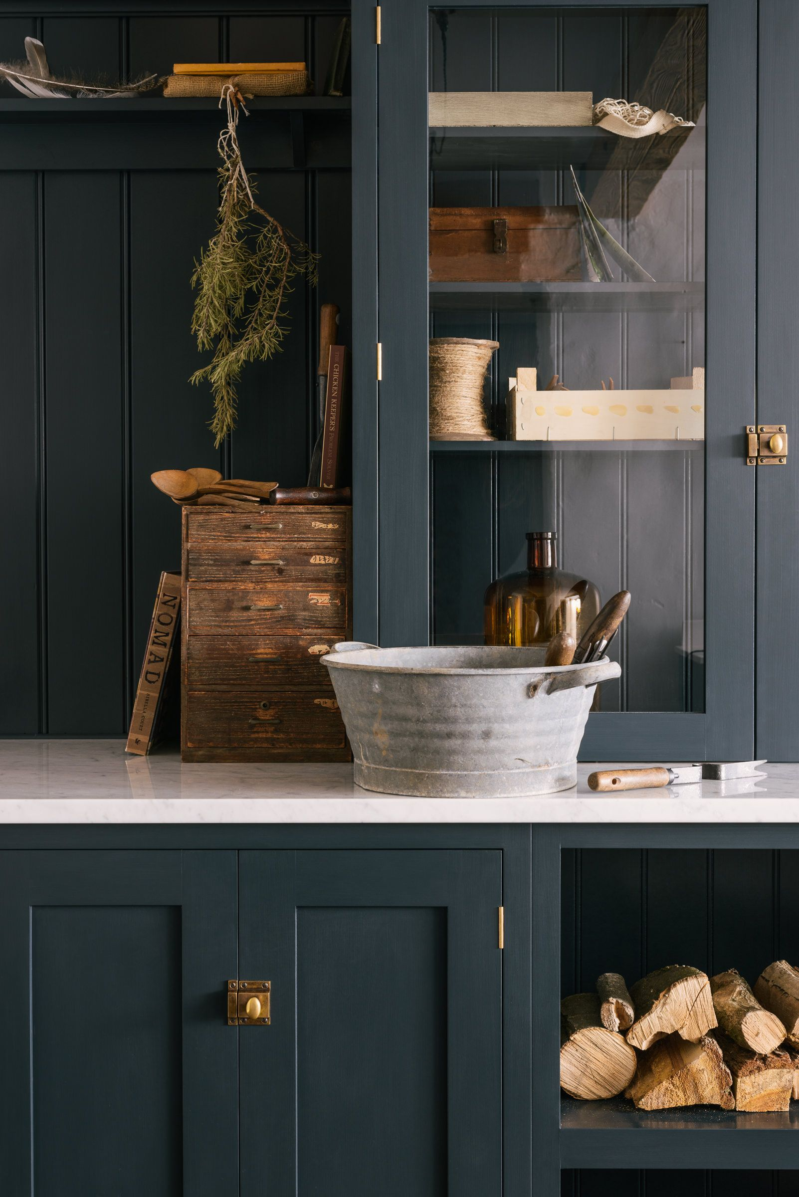 dark blue cupboards and carrara marble worktops is a perfect rh pinterest com