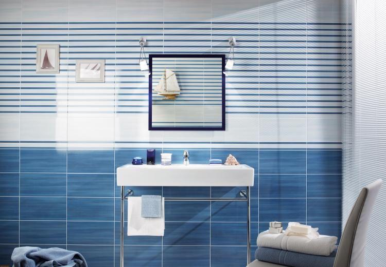 Carrelage Mural Bleu Ciel Et Blanc Neige, Lavabo Design Et Chaise Gris  Taupe Assortie