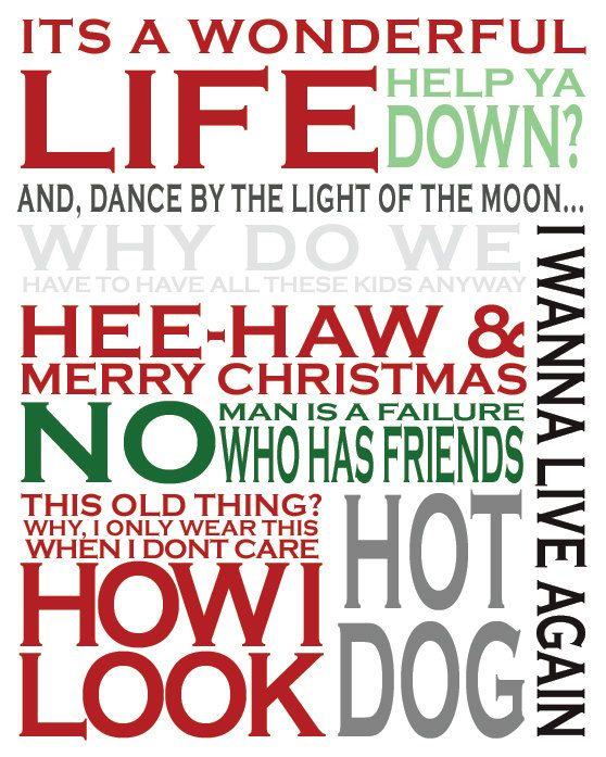 Wonderful Life Quotes: It's A Wonderful Life Typography Art By
