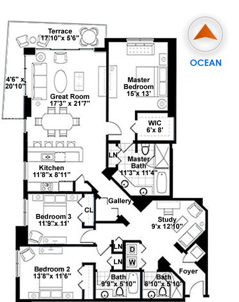 3 bedroom condo floor plans google search home for Condominium floor plan