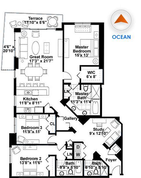 3 Bedroom Condo Floor Plans Google Search Condo Floor Plans House Floor Plans Floor Plans