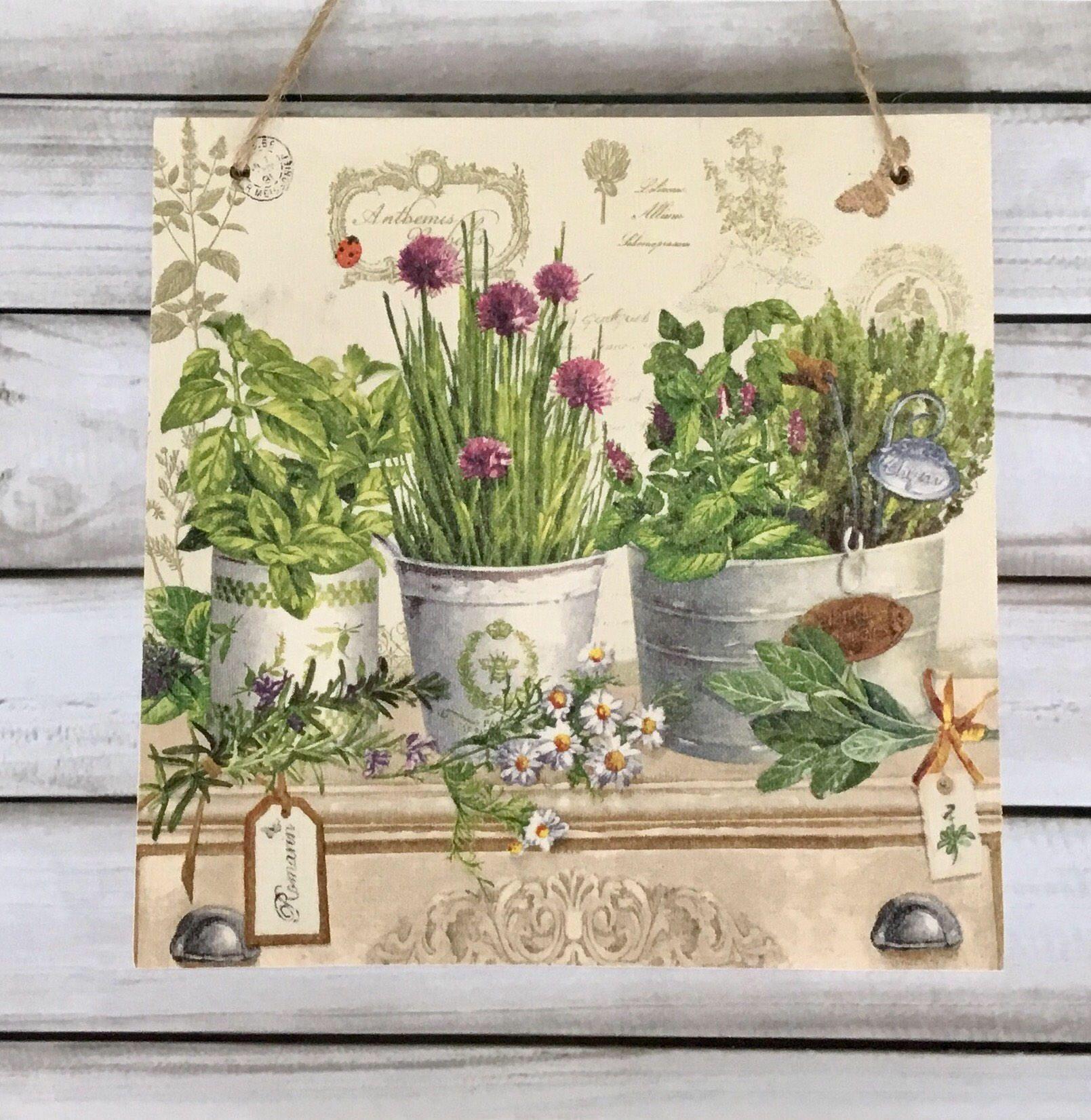 Large cm decoupaged wooden hanging plaque floral herbs botanical