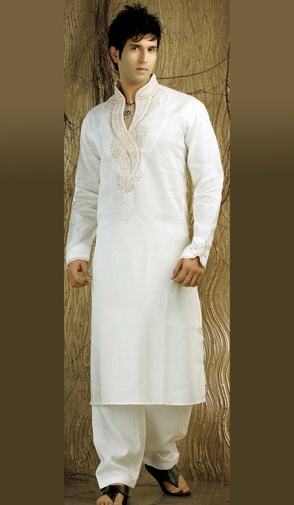 Off-White-Linen-Kurta-Pajama-with-Nice-Embroidery | men wedding ...