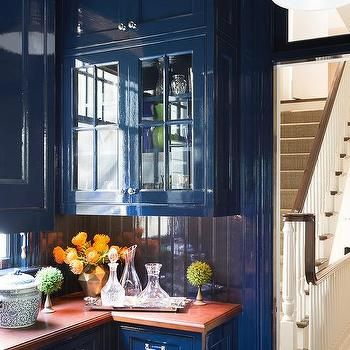 Blue Lacquer Kitchen Cabinets With Blue Beadboard Trim Backsplash Lacquered Walls Interior Home