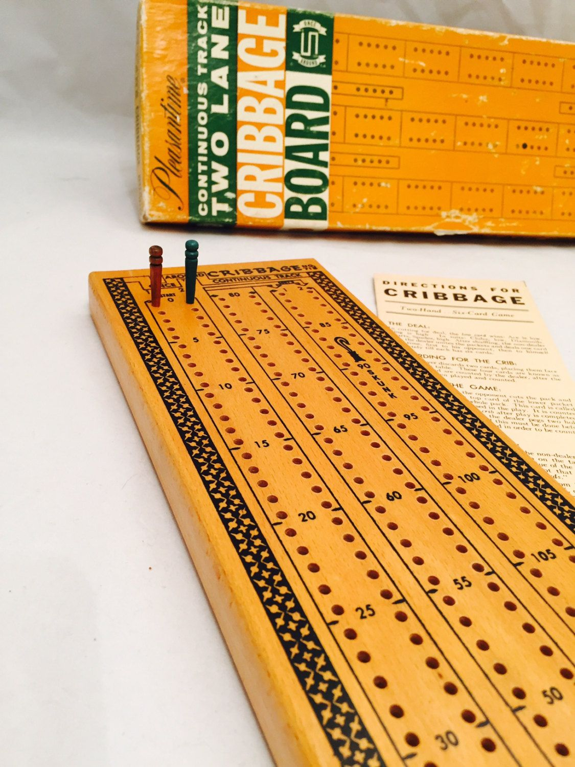 Vintage Cribbage Board Continuous Track Two Lane Hard Wood Track