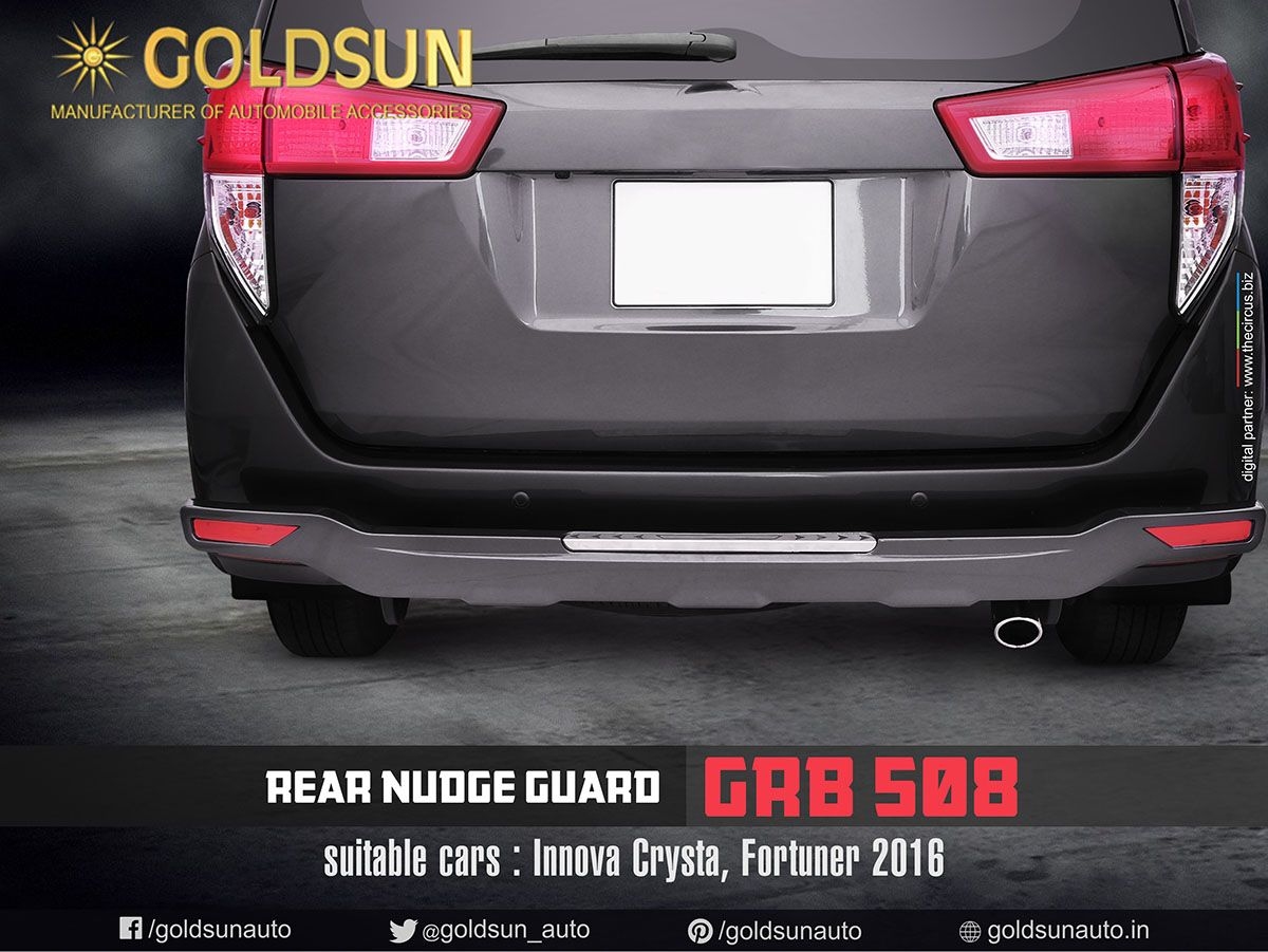 Introducing Stylish Safer Rear Nudge Guard Grb 508 By Goldsun For Toyota Innova Crysta Many Indian Cars Produc Toyota Innova Car Accessories Cool Cars