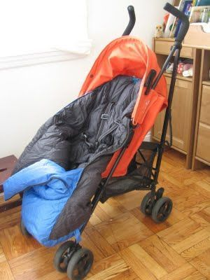 stroller cozy from an old sleeping bag, because blankets slip & fall off!