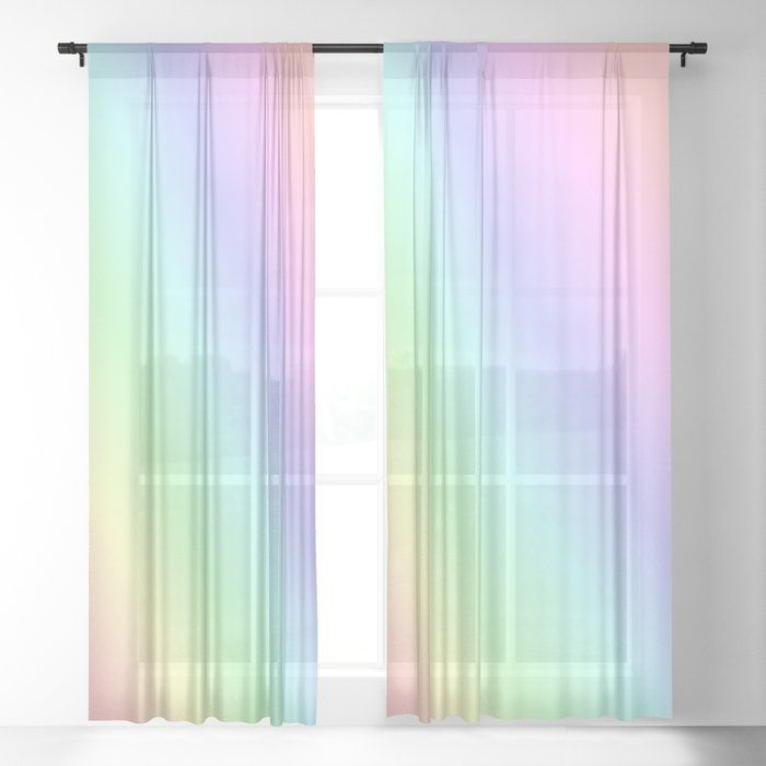 Pastel rainbow Sheer Curtain by lifeisbeautiful