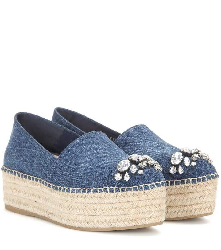 Miu Miu Denim Embellished Espadrilles footlocker pictures online cheap authentic bIC9fps