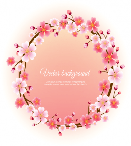 تصميم اطار دائري ورود الكرز ملف مفتوح Cherry Blossom Blossom Vector Free