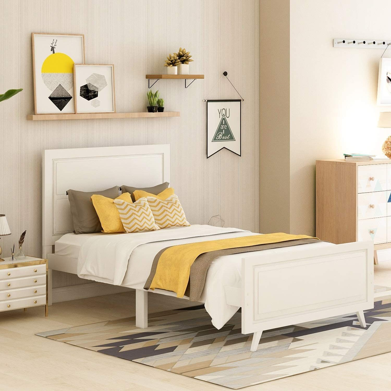 Danxee Wood Platform Bed with Headboard No Box Spring