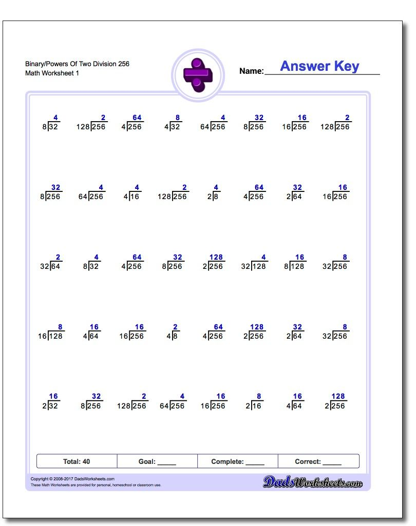 Powers Of Two Division Worksheets Math Worksheets Worksheets Division Worksheets
