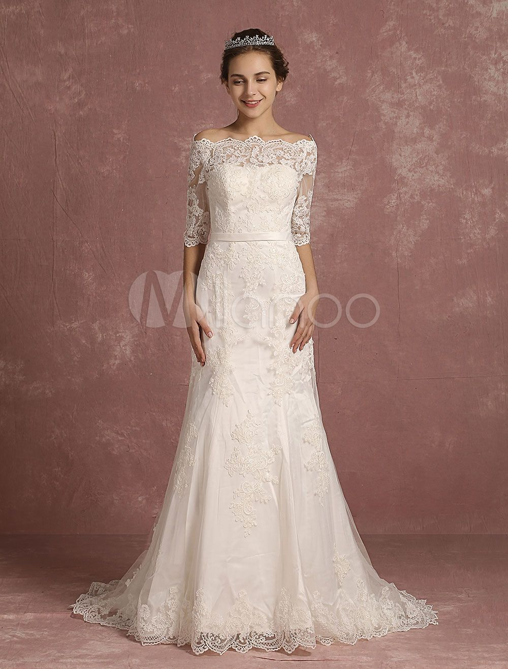 Mermaid wedding dress lace half sleeve bridal gown bateau beaded