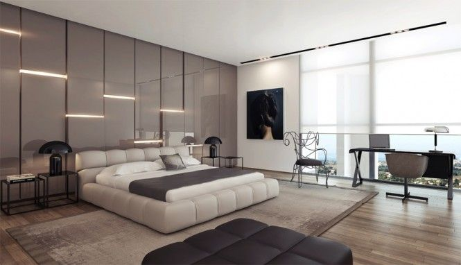 Bedroom Designs With Wooden Flooring unique wall covering ideas gray gloss headboard wall design modern