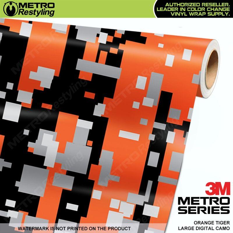 Large Digital Orange Tiger Camo Vinyl Wrap Metro Restyling Vinyl Wrap Vinyl Wrap Car Camo Car