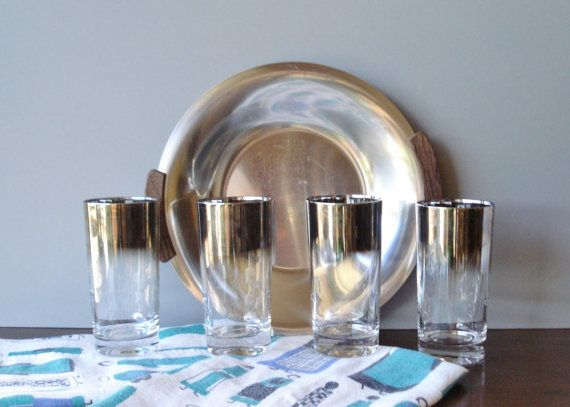 Vintage Retro Silver Fade Drinking Glasses by #AlegriaCollection #google #yahoo #atsocialmedia