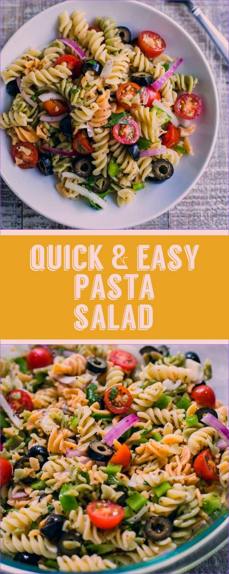 Quick & Easy VEGAN Pasta Salad- this recipes comes together in just about 10 minutes and is PERFECT for lazy summer meals that are healthy and still delicious! Substitute the noodles for brown rice noodles to make it gluten free! #vegan #plantbased #pasta #healthy