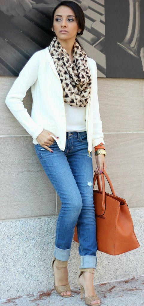 white tee  white jacket  blue jeans  tan pumps  animal