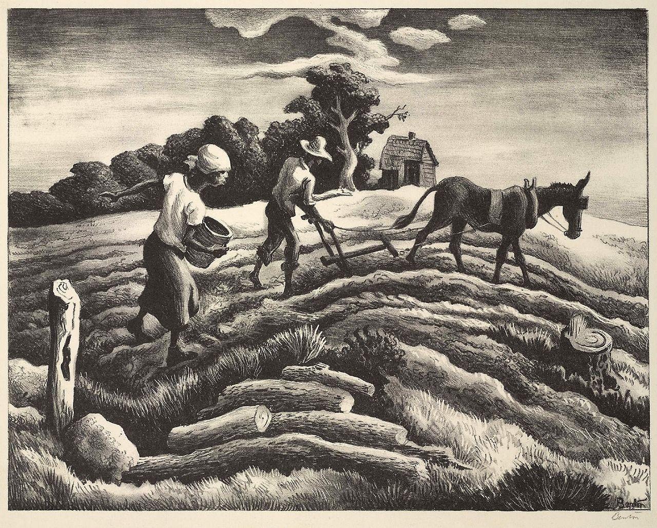 Planting, 1939 lithograph, Thomas Hart Benton