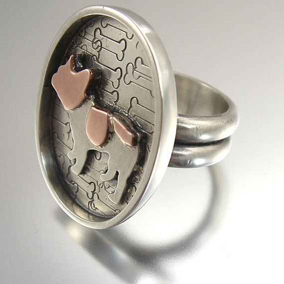 Custom Sterling Silver Jewelry Ring - French Bulldog by Creative Dexterity. Bonjour Nino Jewelry