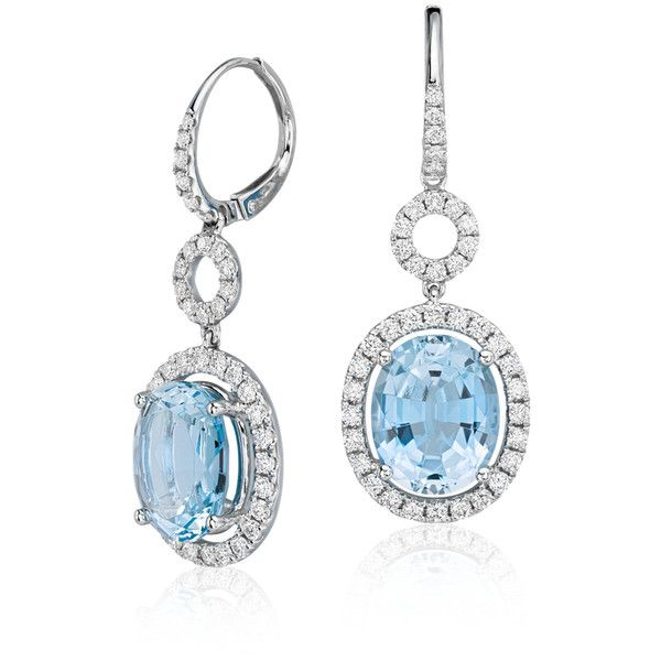 Blue Nile Aquamarine and Diamond Halo Drop Earrings (€4.660) ❤ liked on Polyvore featuring jewelry, earrings, earring jewelry, blue nile, round drop earrings, oval earrings and drop earrings