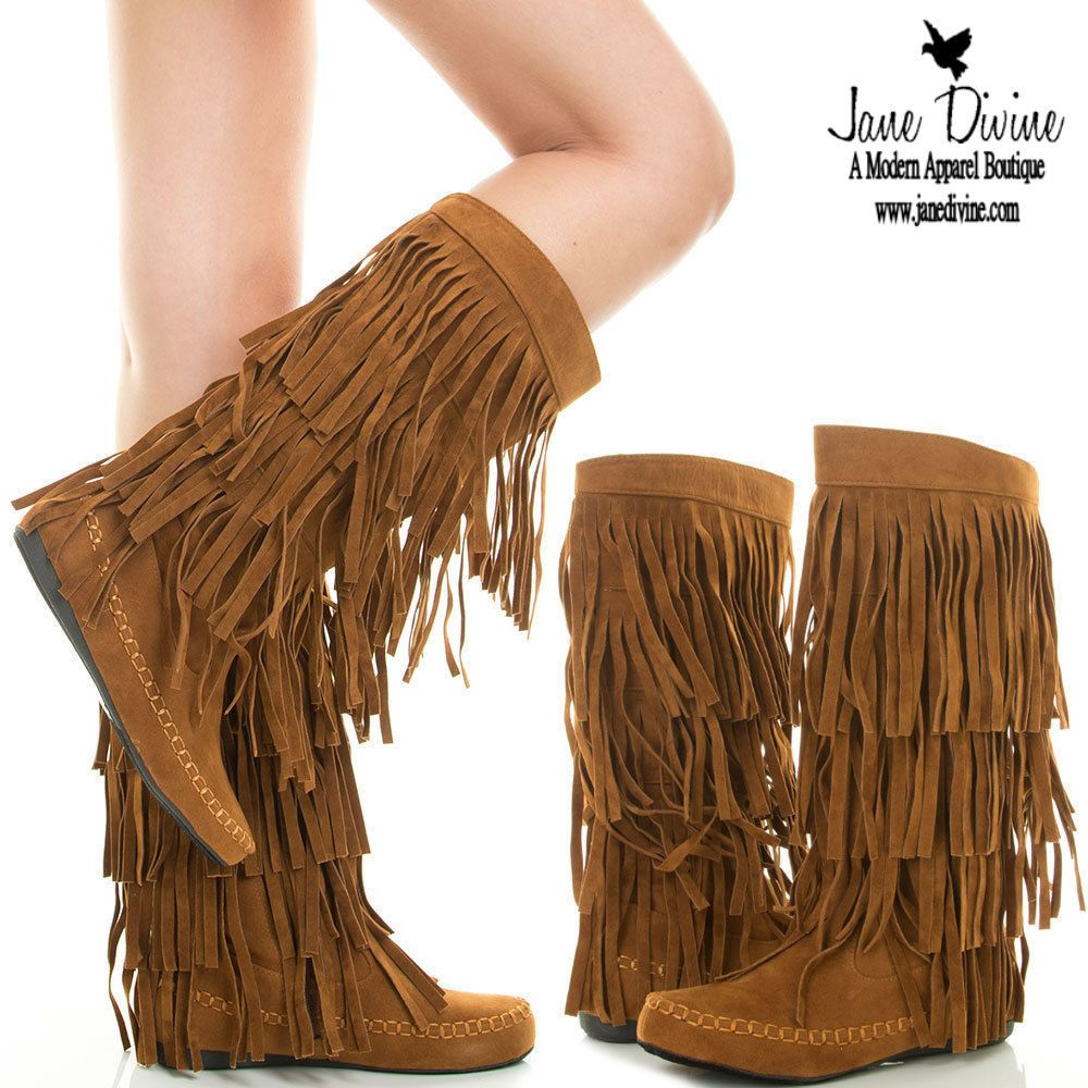 Red Fringe Tiered Moccasin Boots Faux Suede A3zv AQr Q