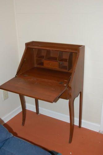 Antique English Arts Crafts Era Mahogany Oak Drop Down Desk