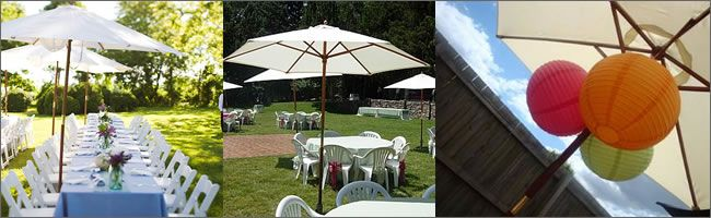 27m market umbrella white including base plate 45 our wedding vintage wedding props and furniture for hire auckland junglespirit Images