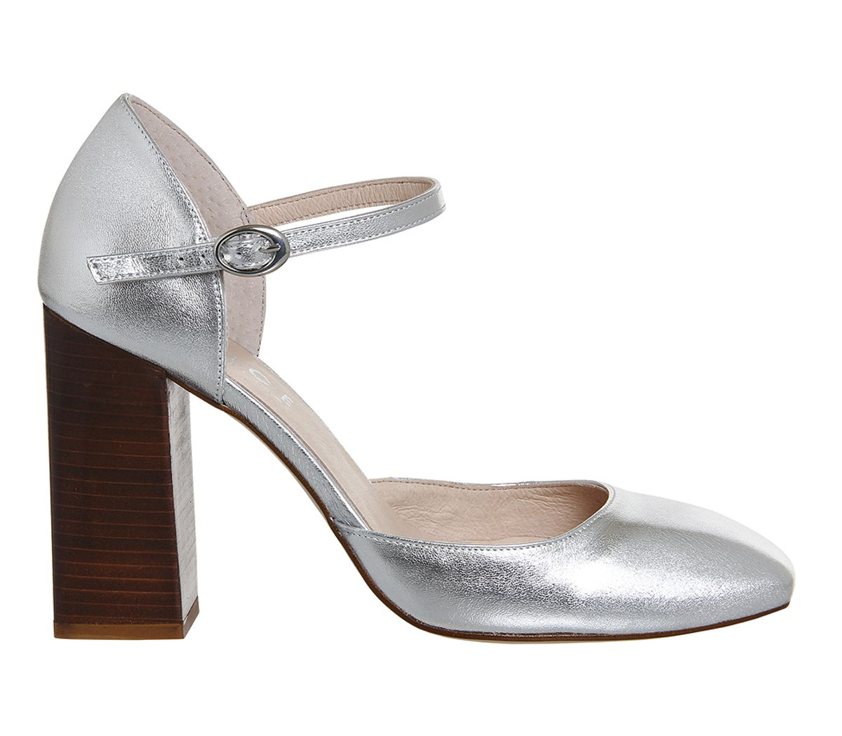Buy Silver Leather Office Nibbles Mary Jane Block Heel from OFFICE ...