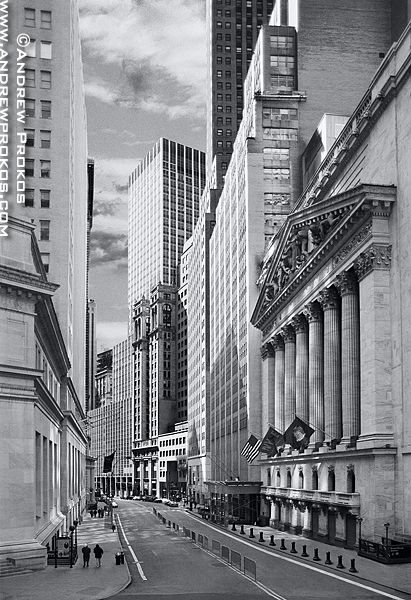 View Of The New York Stock Exchange From Wall Street Black