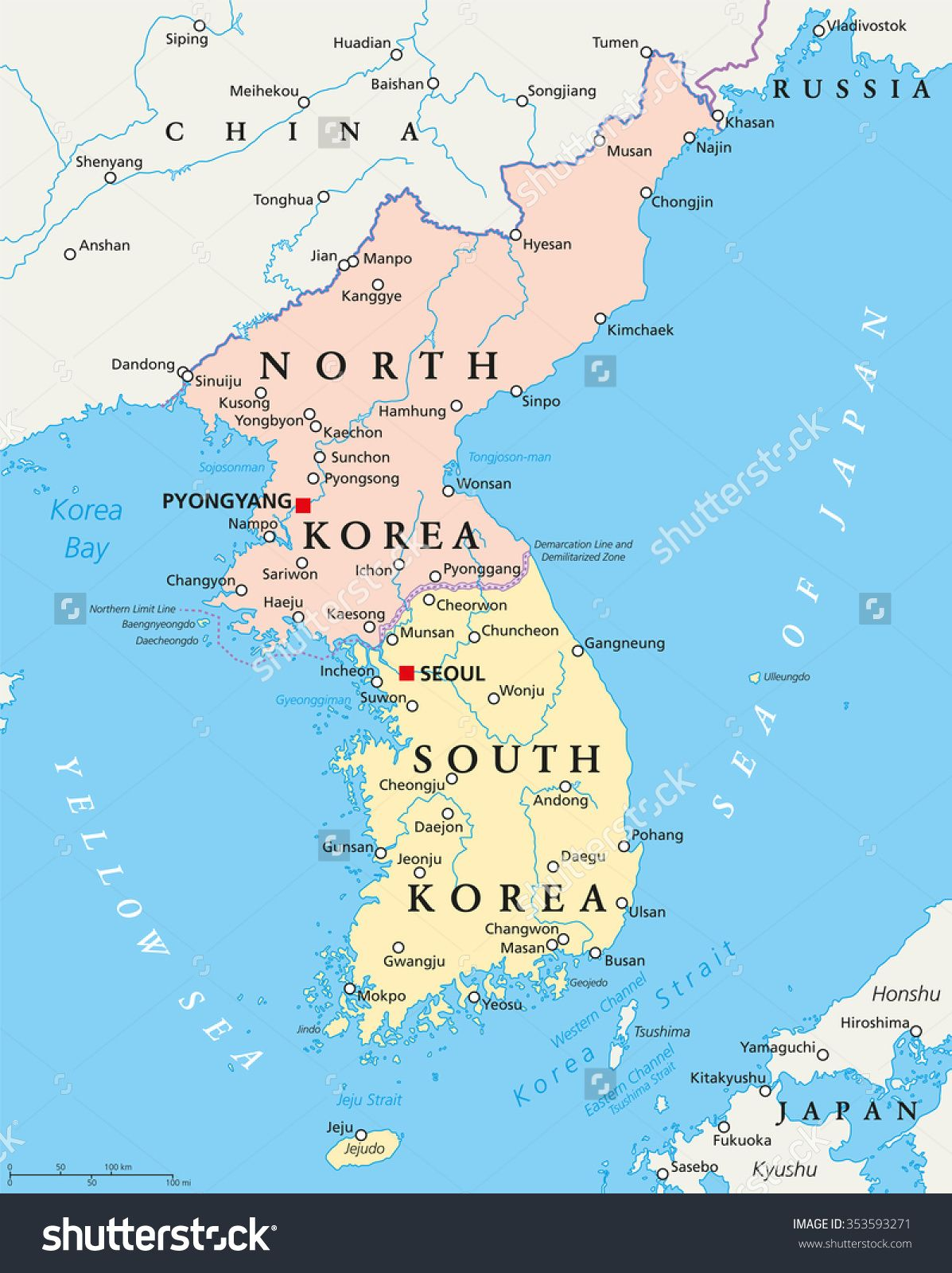 Image result for maps showing north and south korea border borders image result for maps showing north and south korea border gumiabroncs Images
