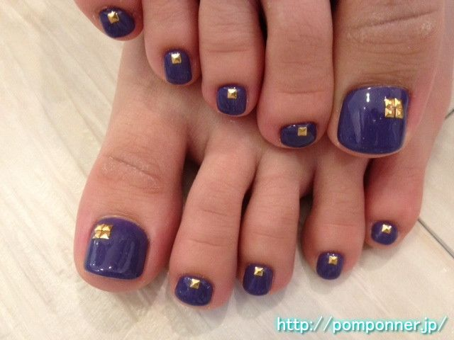 Foot and Nail Art Purple Studded 紫とスタッズアートのフットネイル