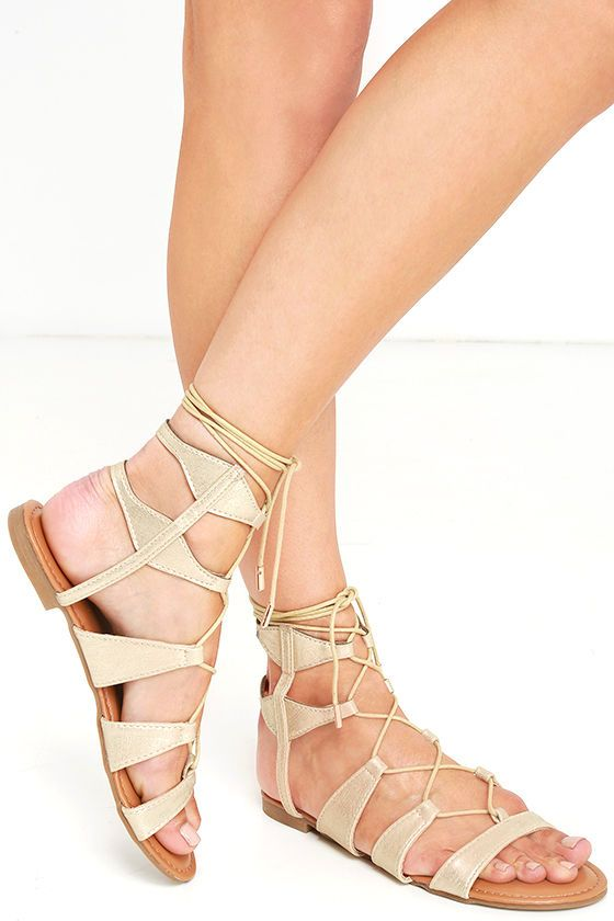 0db2ee9de0a What more could you ask for now that the All This and More Gold Gladiator  Sandals