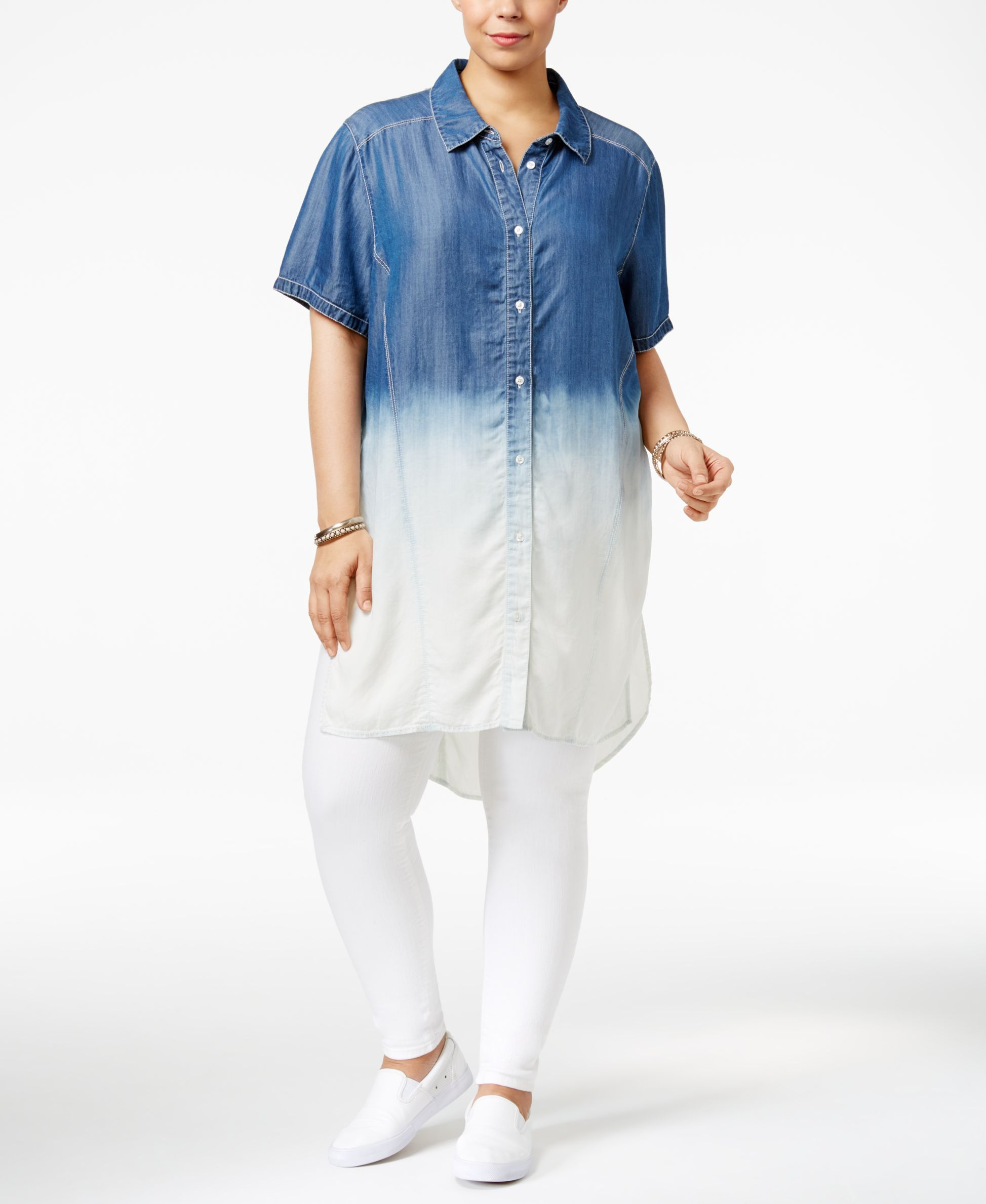 Poetic Justice Trendy Plus Size Chambray Shirtdress Shirtdress And