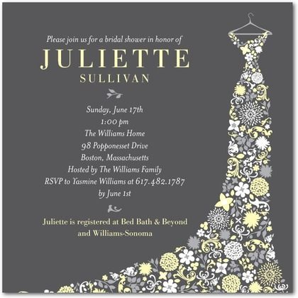 bridal shower invitations may love the dress better than the shoe just replace the yellow with pink and maybe the gray with white and gold