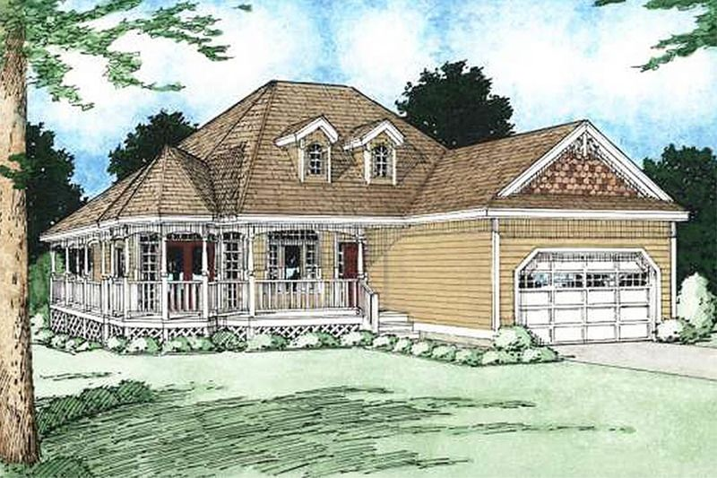 Country Style House Plan - 3 Beds 2 Baths 1506 Sq/Ft Plan #126-130 Exterior - Front Elevation - Houseplans.com