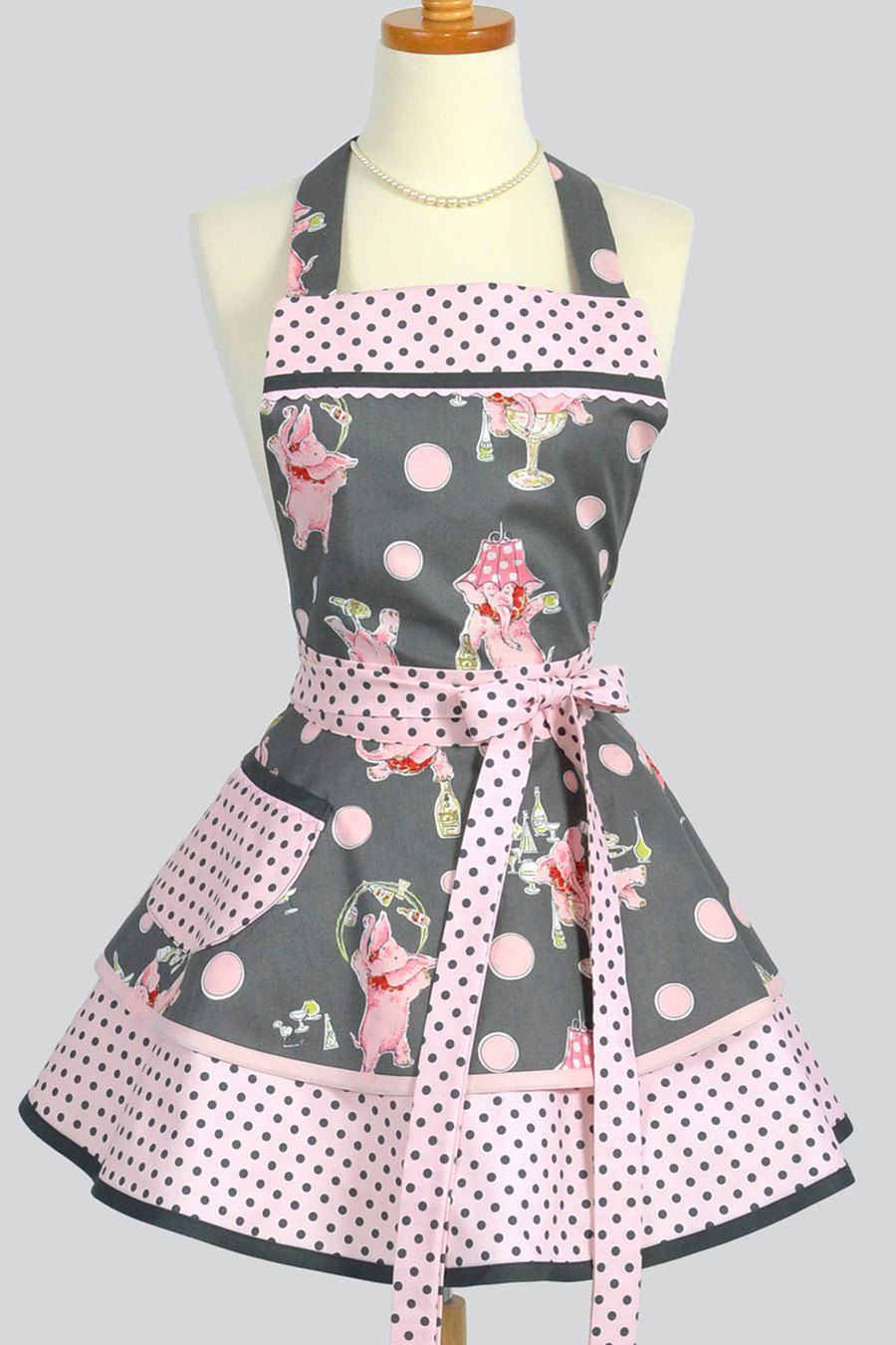 Apron Ruffled Retro Apron Handmade Flirty Full Womens Apron In Pink Grey Dots Featuring Pink