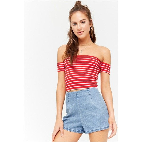 fc77f55d2dc White Tee Shirts · Forever 21 Stripe Off-the-Shoulder Crop Top Red white  ( 7.90)